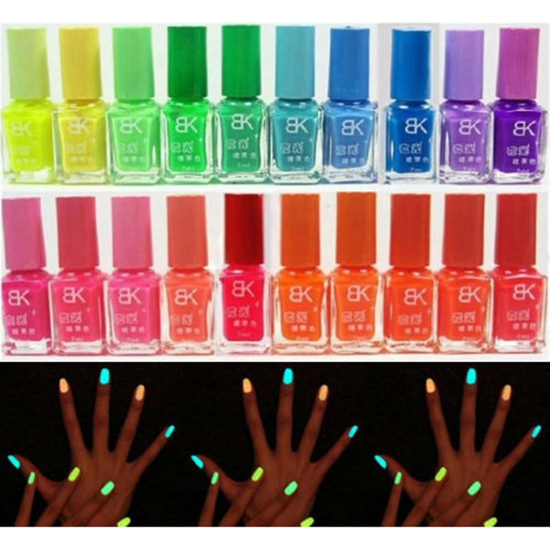 Hotsell 20 Candy Colors Glow The Dark Luminous Fluorescent Nail Art Polish Enamel New Arrived Promotion(China (Mainland))