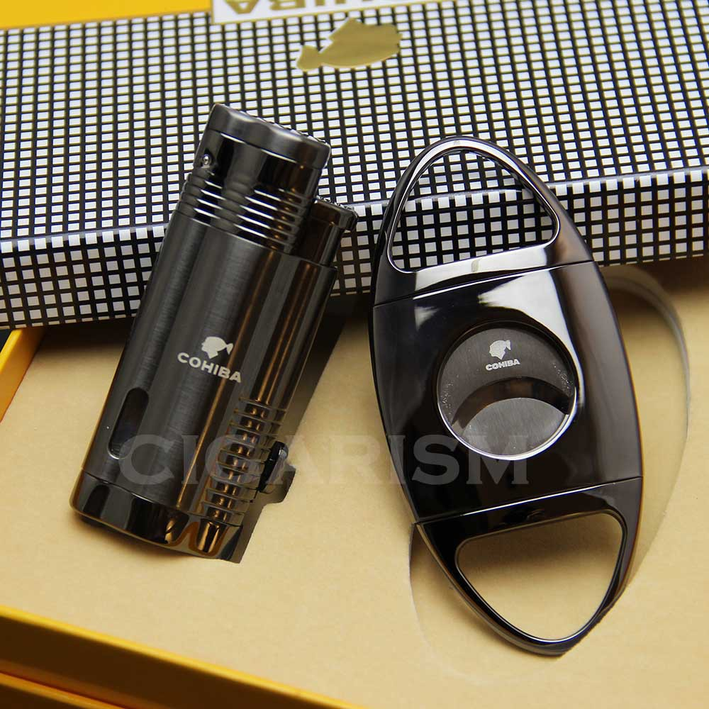 COHIBA Black Metal Cigar Cigarette 3 Torch Flame Lighter W/ Punch Cutter Set(China (Mainland))