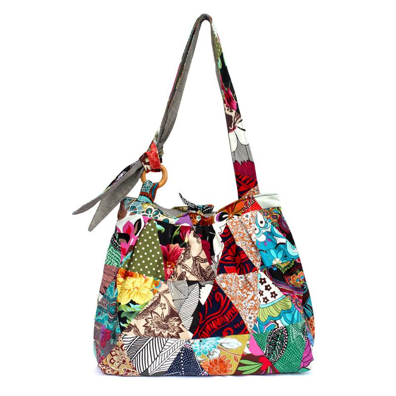 Unique Boho Vintage Sturdy Patchwork Bag 2016 new brand Women Shoulder Bag Designer handbags Large travel tote bags Gift for her(China (Mainland))
