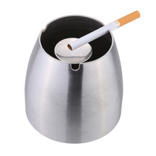 New Stainless Steel Windproof Taper Ashtray Cigarette Cigar Ash Holder with Column Bracket(China (Mainland))