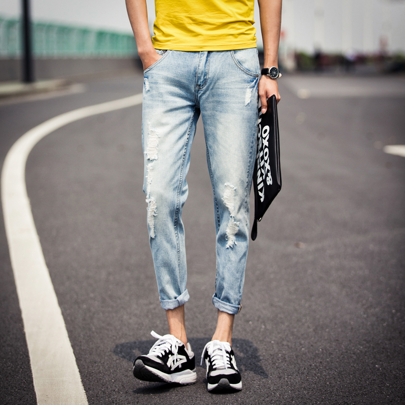 2015 Spring Male Jeans Menu0026#39;s Clothing Slim Casual Pants Hole Ankle Length Trousers 9 Shorts ...