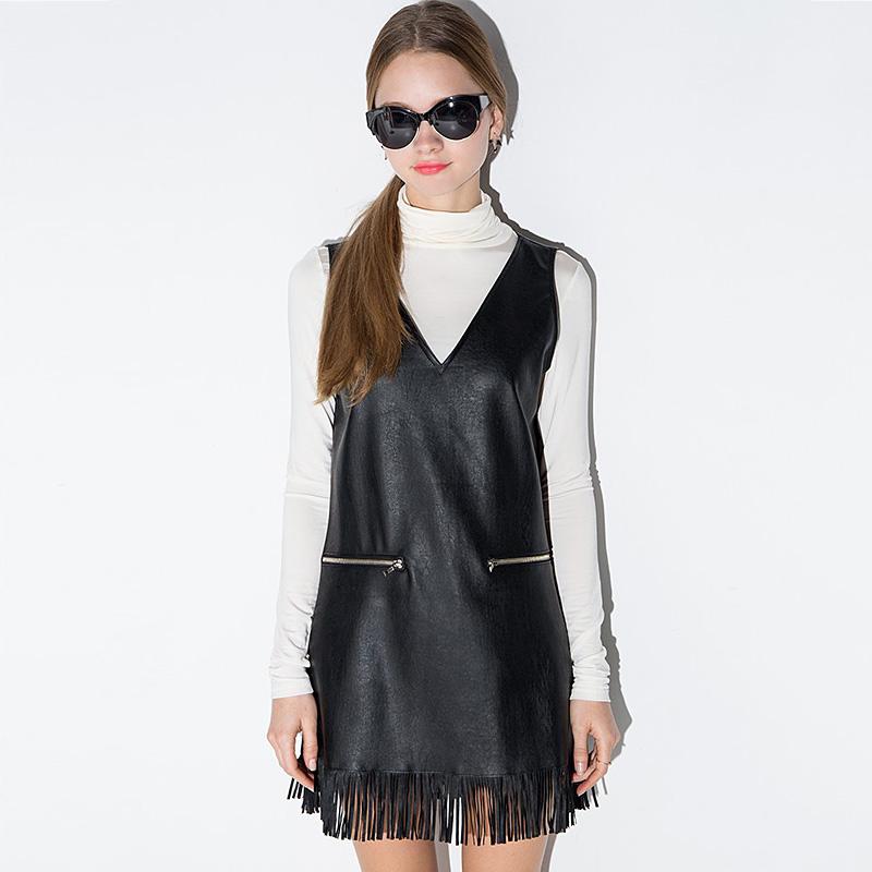 Fashion sweet sweep tassel patchwork slim V-neck PU vest one-piece dress free shipping(China (Mainland))