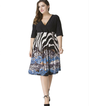 Plus Size Women Deep V-Neck Summer Half-Sleeve Multi Color Elastic High Waist Fit And Flare Swing Leopard Zebra Printed Dress(China (Mainland))