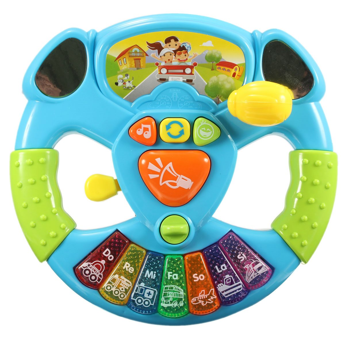 Baby Multifunctional Steering Wheel Toys with Electronic Button Music Lights Transportation Tools Education Intelligence Toys