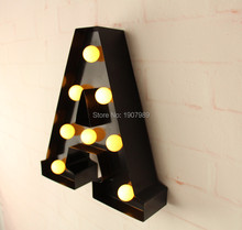 "9"" metal Letters light LED alphabet Marquee Sign LIGHT UP  Vintage metal letter signs light Indoor wall Deration customize order(China (Mainland))"