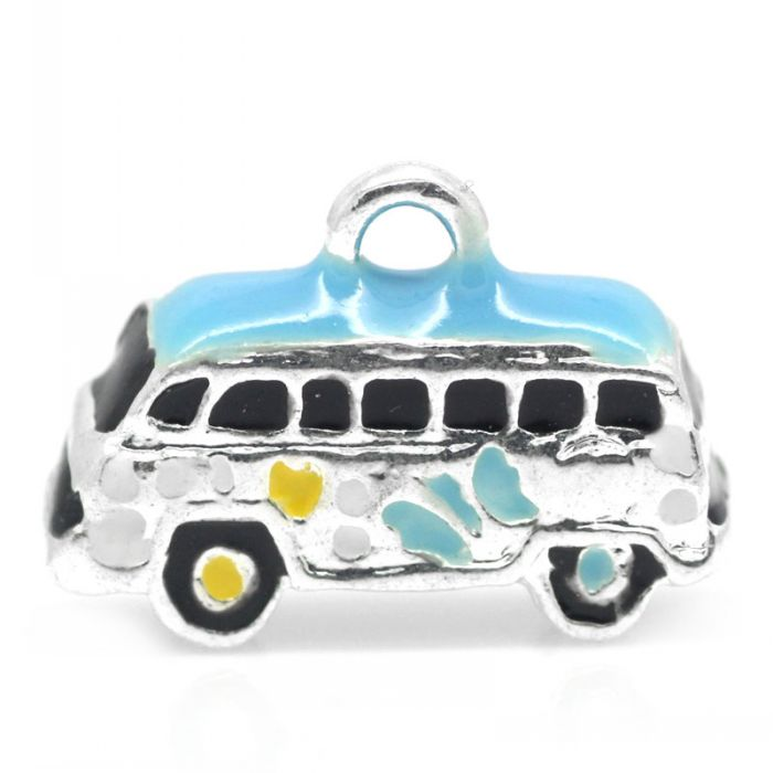 Charm Pendants Bus Silver Plated Enamel Multicolor 16x12mm,5PCs Mr.Jewelry(China (Mainland))
