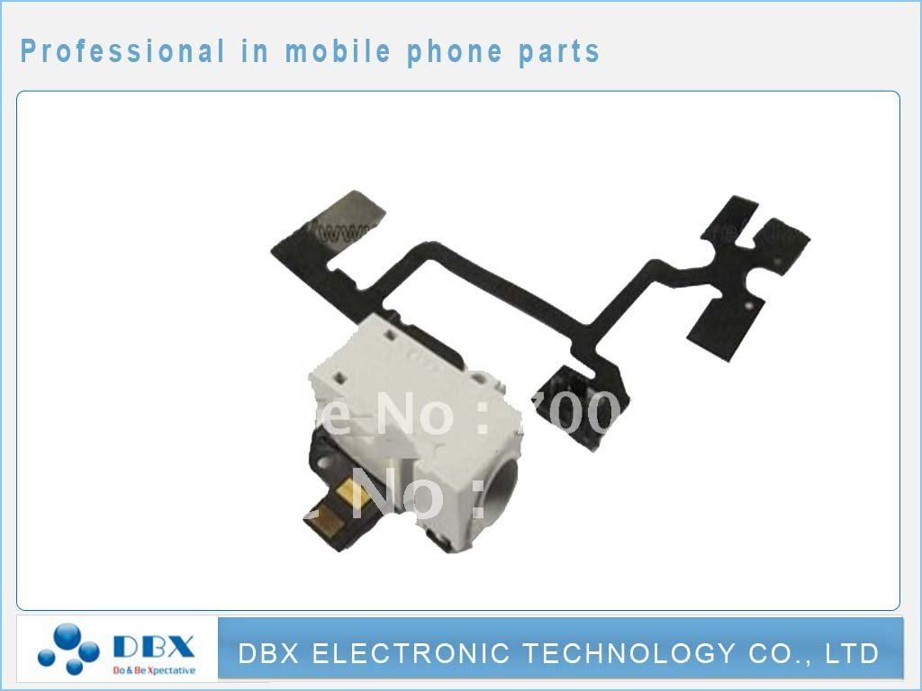 30pcs/lot Headphone Flex cable For iPhone 4 4G Audio Jack Flex Cable White color Free shipping(China (Mainland))