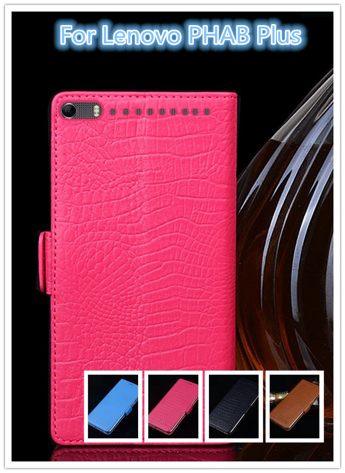Luxury crocodile Retro Real Genuine Leather Wallet Case Lenovo PHAB Plus Stand Flip Phone Cover PB1-770N 6.8