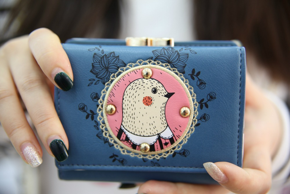 Embroidered Leather Wallet Fold Women Leather Wallet