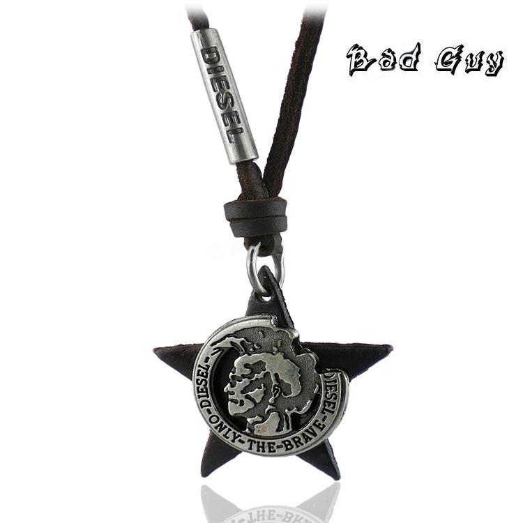 NPL 0029 vintage brve men s balck star necklace with 100 genuine cowhide rope cool men
