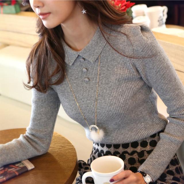 2015 Autumn and winter Brand Женщины peter pan Воротник свитерs Модный Korean basic ...