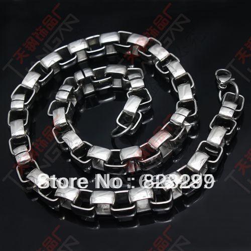 Credit Guarantee! New Fashion Jewelry 316L Sainless Steel 120g Silver Heavy Box Chain Necklace Jewellery Free Shipping(China (Mainland))