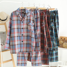 (1Set/Lot) Men Pajama set, Cotton Sleepwear, Japanese Pajamas, Plaid style Color Blue/Pink/Blue, Size M/L/XL in Stock Wholesale(China (Mainland))