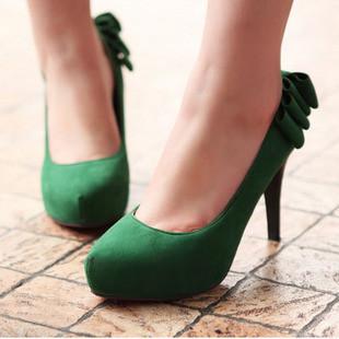 big size34-43 2013 bow petals thin heels high-heeled shoes candy color women's plain platform