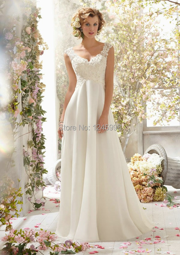2015 Elegant A Line Beaded Open Back V neck White Lace Wedding Dress / Bridal Gown(China (Mainland))