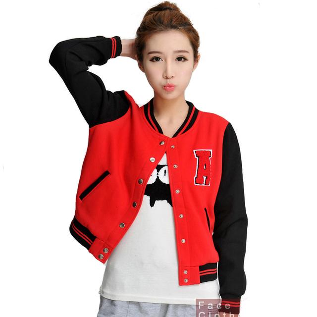 2014 womon в свободного покроя колледж бейсбол куртки harajuku стиль с коротким пальто ...