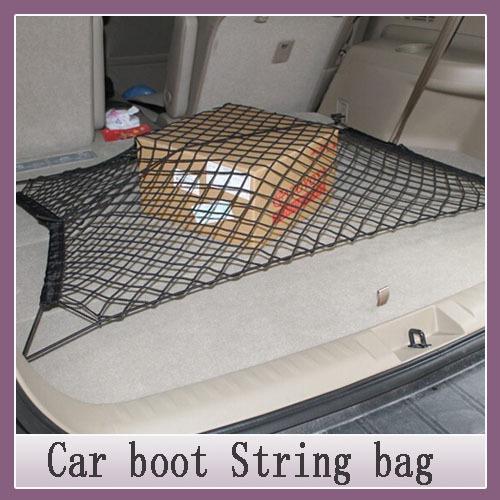 car styling 1Set Car boot string bag Elastic Nylon Car Rear Cargo Trunk Storage Organizer Net with Velcro SUV auto accesso