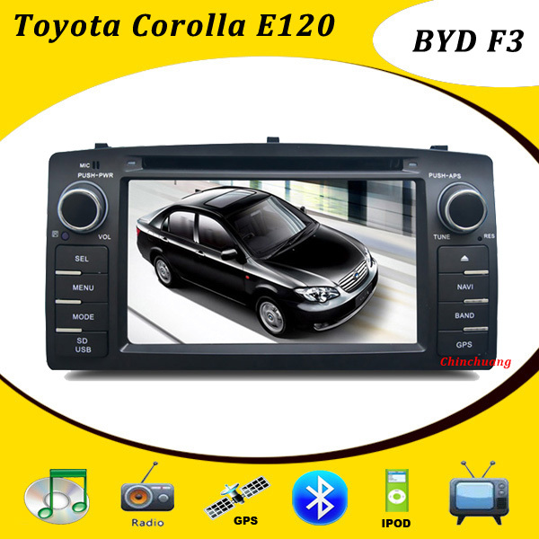 Promotion! Toyota Corolla E120 Car DVD for BYD F3 Head Unit with GPS radio TV, Russian Menu+Free TV Antenna and 8GB Map Card(China (Mainland))