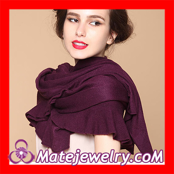 2 pcs/lot Handmade Purple Imitation Wool Falbala Knitted Infinity Scarf Shawl Stole Pashmina Pattern Wholesale,HQ0023TL003(China (Mainland))