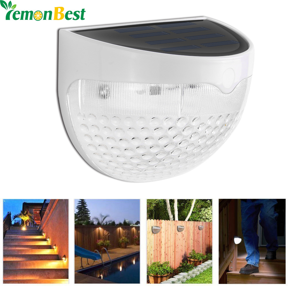 Solar Led Wall Lamp 6 LED Light Sensor Auto ON/OFF Waterproof Cool White Warm White for Stair Outdoor Post Garden Fence Yard(China (Mainland))