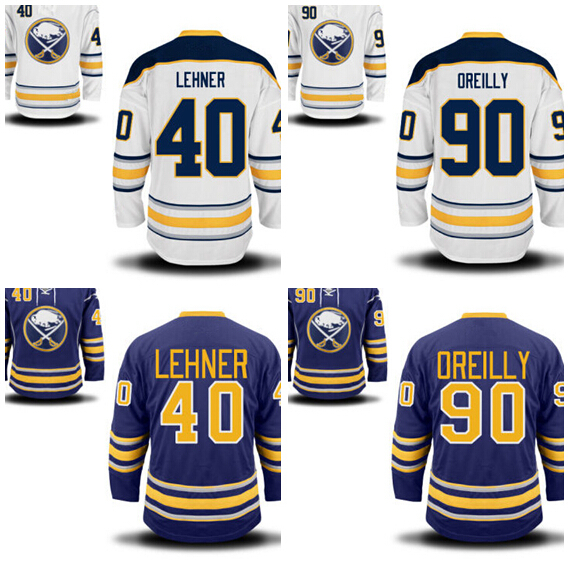 Top quality production Buffalo Sabres Hockey Jerseys Customized 90 Ryan O'Reilly O Reilly Jersey 40 Robin Lehner Home Road Blue