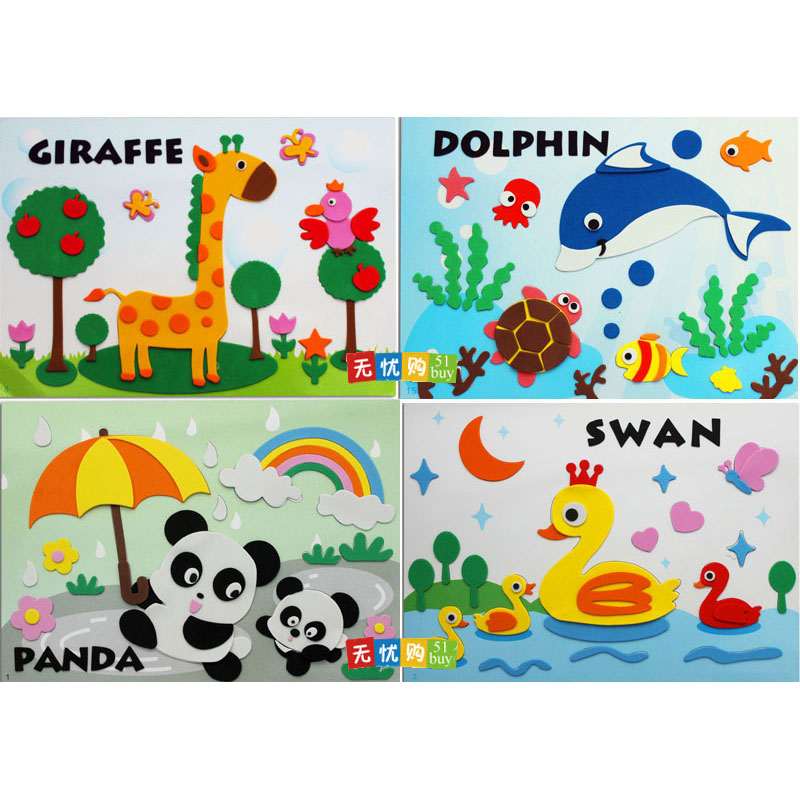 29*21CM 65G 8PCS/LOT 3D EVA Cartoon Lovely Animals Sticker Non-toxic Kids Educational Toys For Children Handmade Materials Gift <br><br>Aliexpress