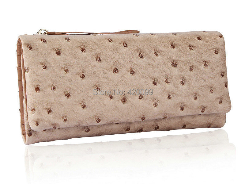 2015 women's wallets genuine leather cowhide vintage Ostrich pattern tri-fold candy color long purse lady billeteras mujeres(China (Mainland))
