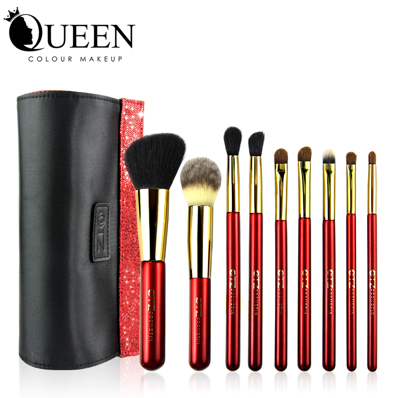 TZ Brand Beauty Red Brush Set Goat Hair +Horse Hair +Synthetic Hair Cosmetic Make up Brush Set With Makeup Bag <br><br>Aliexpress