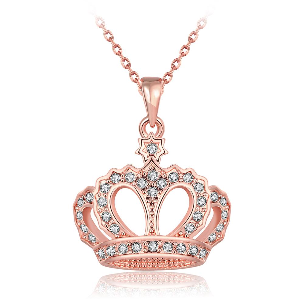 fashion jewelry plated 18k Rose Gold platinum popular women girl children rhinestone elegant crystal Crown new Pendant necklaces(China (Mainland))