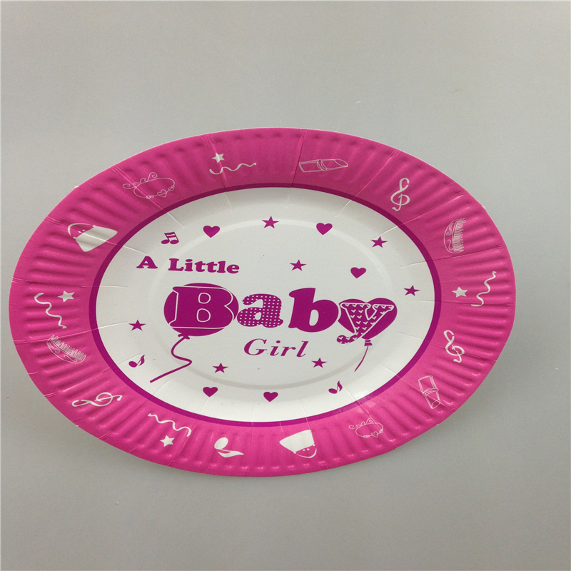 shipping 7inch pink baby girl baby shower theme party paper plates