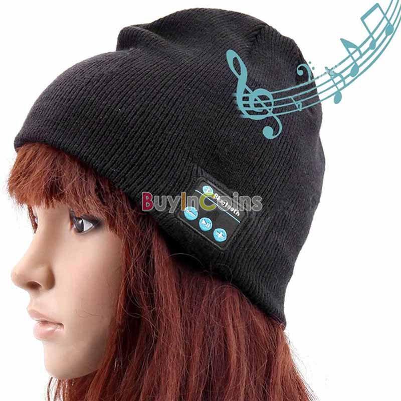 Wireless Bluetooth V3.0 Music Beanie Hat Headphones Handsfree Black US AS #67950(China (Mainland))