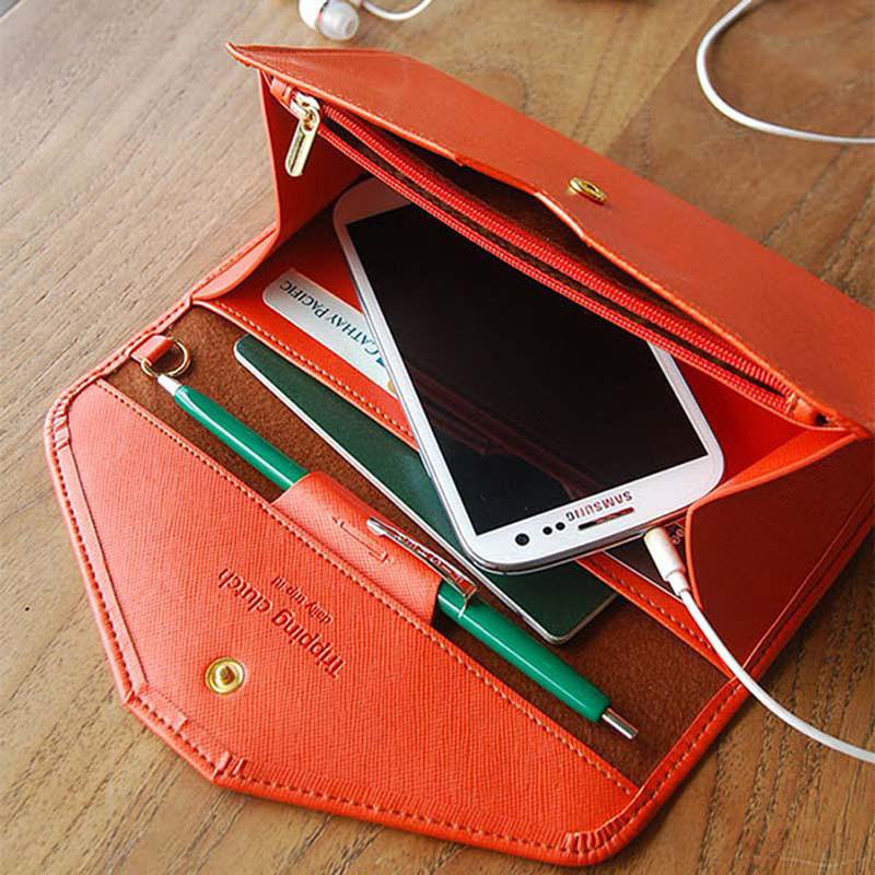 2015 Elegant Lady Wallet Synthetic Leather Envelope Design Women Wallets Hasp Candy Color Clutch 9 Colors Female Money Purses(China (Mainland))