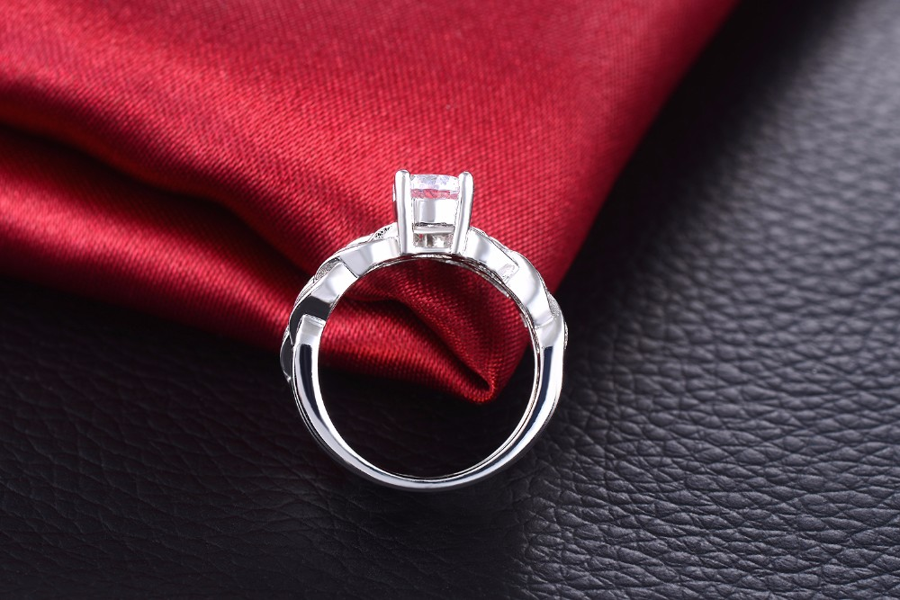 Twist flower White gold plated rings for men women double rings set CZ diamond wedding Engagement bague fashion jewelry VSR127