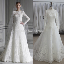 Actual Images Long Sleeves Wedding Dresses Lace A Line Sweetheart Applique Sweep Train Bridal Gown yk1A337(China (Mainland))