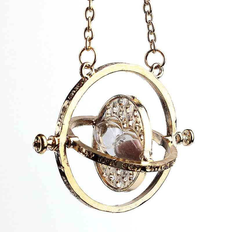 2015 Hot Sale Time Turner Pendant Necklace Hermione Granger Rotating Spins Gold Hourglass Fashion Jewelry Accessories For Women(China (Mainland))