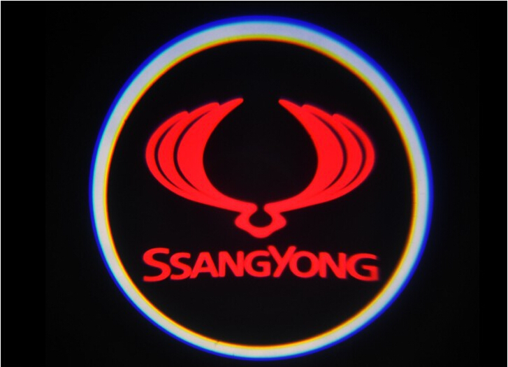 Ssang Yong LOGO Car LED Emblem Welcome Light Door Step Ground Projecting Lamp For Kyron Rexton Actyon Korando Musso C200 ect(China (Mainland))