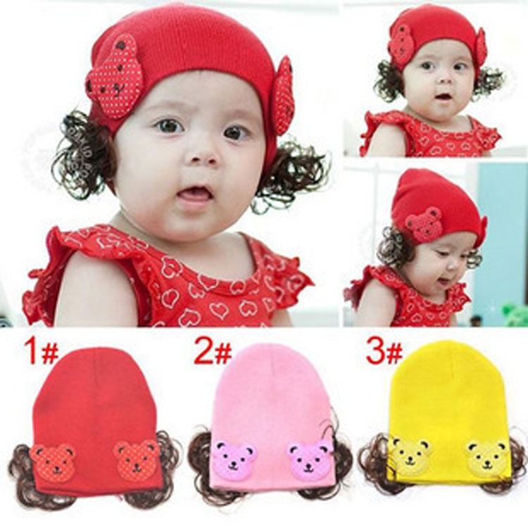 The new Korean infant baby warm wool hat cap hat wig wholesale(China (Mainland))