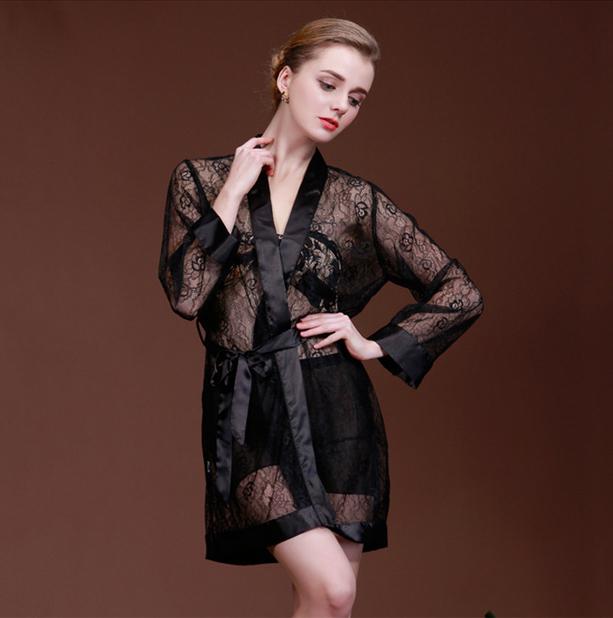 100 Brand Women sexy silk satin lace robe full sleeve bathrobe see through dressing gowns charming