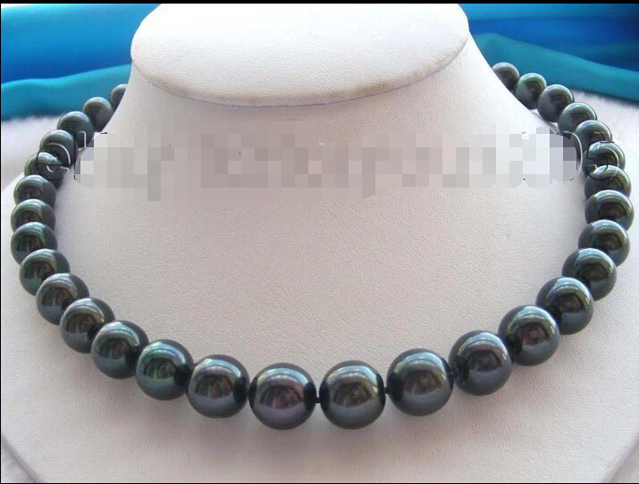 FREE SHIPPING  Natural 12mm Black Round Pearl Necklace Mabe 925silver!<br><br>Aliexpress