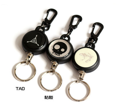 High Strength Steel Wire Retractable Pull Keyring Lanyard Name Card Holder Recoil Cord Metal Badge Reel(China (Mainland))