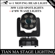 Buy NEW! (6+1) 30W LED Spots + 6x8w wash lights rgbw 4in1 moving head light professional stage dj lights for $198.55 in AliExpress store