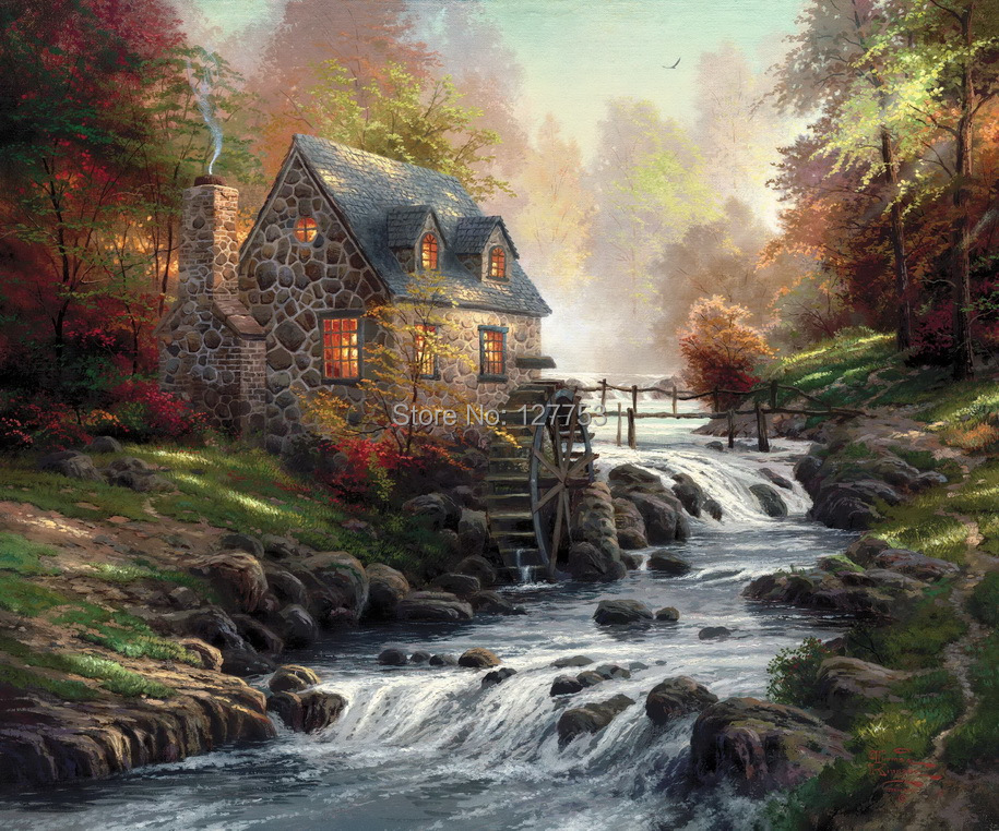 Thomas kinkade original oil painting art printing on the for Oil paintings for the home