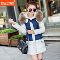 Plus size Women coat Winter 2016 New Patchwork Lady Clothing Parkas coats Female Hooded Fur collar