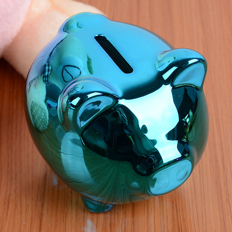2016 New Cute Cartoon Pig Ceramic Piggy Bank Kids Children Toy Coin Cashbox Birthday Gift Random Colors(China (Mainland))