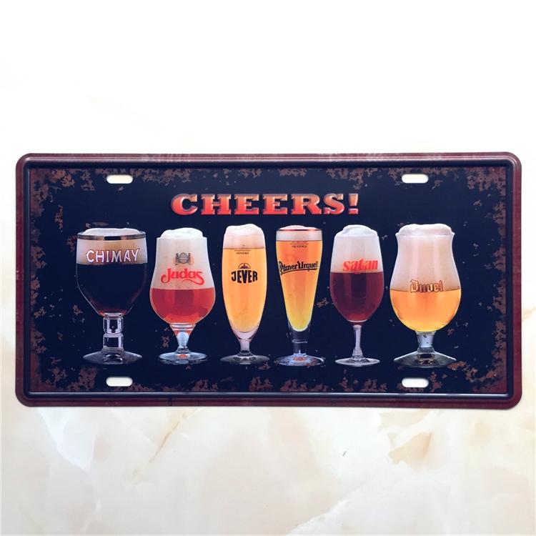 BEER CHEERS CAR PLATE Vintage Tin Sign Bar pub home Wall Decor Retro Metal Art Poster(China (Mainland))