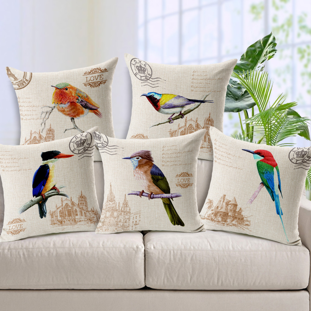 Retro Birds Decorative Cushion Cover Pillow Case Home Decor Almofadas 18*18inch Printed Linen Cotton capa para almofada sofa(China (Mainland))