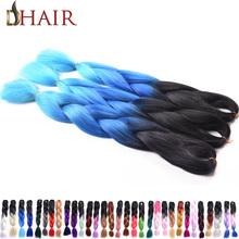 """Discount 24"""" 100Gram Three Tone Ombre Braiding Hair Black/Blue/Light Blue Expression Braiding Hair Extension For Box Braids Hair(China (Mainland))"""