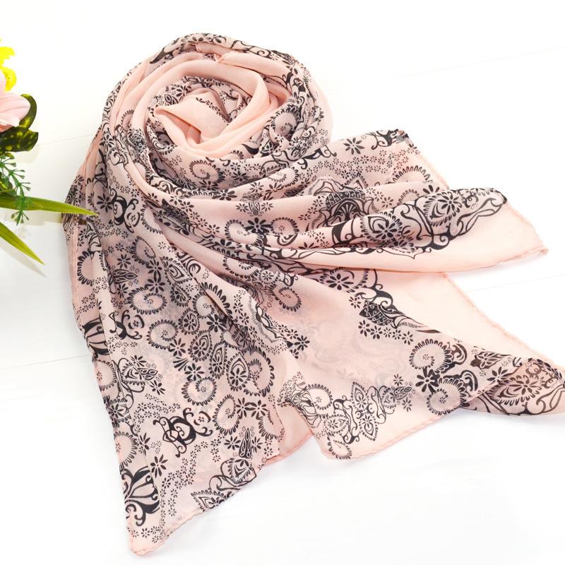 Fashion Floral Pink Summer Style Long Chiffon Ladies Scarf Spring Winter Women Printed Scarves Desigual Shawls Bufanda Cachecol(China (Mainland))