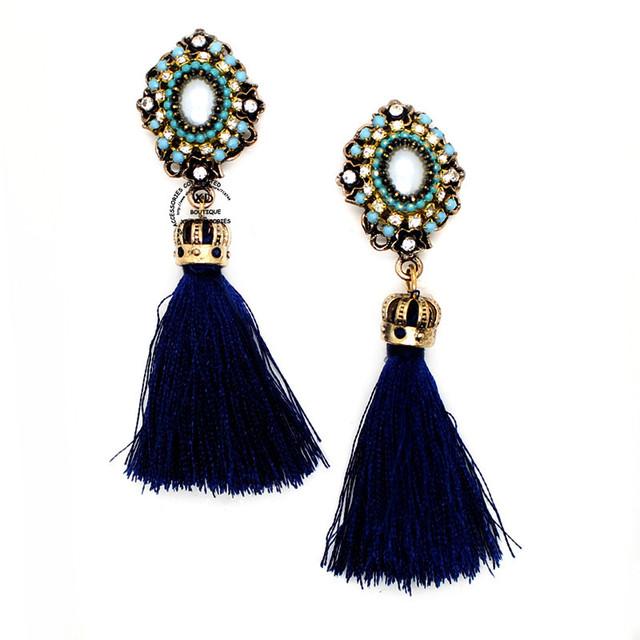 Корона длинная кисточка серьги кристалл висячие серьги для женщины pendientes ювелирные изделия бижутерии