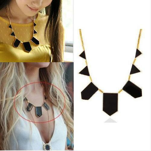 Min mixed order Only 1pcs,House of Harlow Imitation Gold Enamel Geometric Figure necklace free shipping wholesale/retailer(China (Mainland))